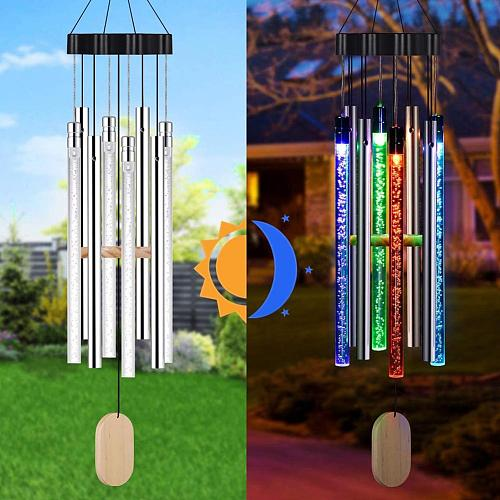 LED Solar Wind Chime Auto-sensing Wind Chime Light Color Changing IP55 Waterproof Hanging Solar Light For Home Garden Decor