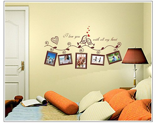 Photo Picture Frame Family Tree Bird Removable Quotes Wall Decal Sticker Room mirror photoframe Home Decor