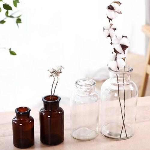 Glass Vase Home Small Hydroponic Plant Glass Bottle Living Room Decoration Dried Flower Decoration Transparent Flower Vase