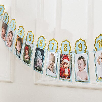 1PC One Year Old Baby Photo Birthday Banner Baby Shower Birthday Garland Monthly Photo Frame String Flag Accessories Party Decor