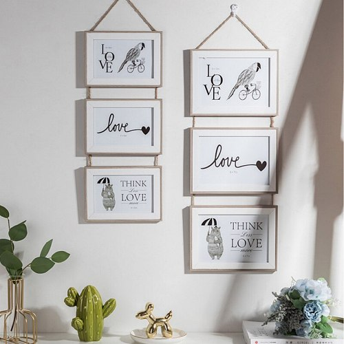 Photo Frame Wall Hanging Picture Holder Three Wooden Connected Combination Clips Decorative Paper Nail for Living Room 6/7 Inch