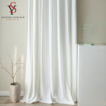 Modern White Velvet Blackout Curtain Window For Bedroom Luxury Soft Thick Curtains For Living Room  Home Decoration Custom Made
