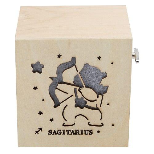 Wooden Music Box Luminous 12 Constellations  Children Birthday Holiday Gifts Christmas Gift