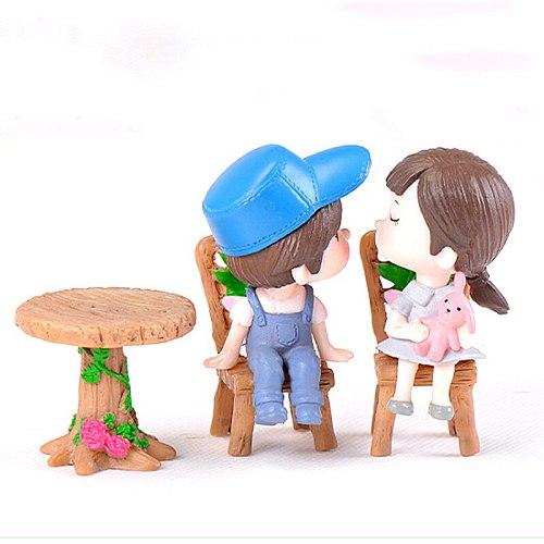 3pcs/Set Table Chair Home Decor Resin Craft Micro Landscape Ornament Fairy Garden Miniature Figurine Home Decoration Accessories