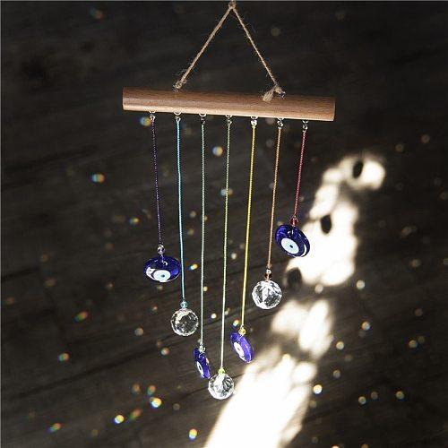 H&D Chakra Energy Crystal Ball Suncatcher Turkish Blue Evil Eye Wind Chimes For Home Garden Hanging Decor Showpiece Lucky Gift