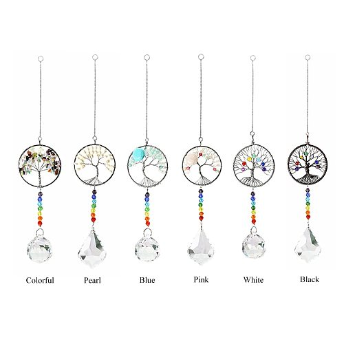 Crystal Wind Chimes Colorful Tree of Life Pendant Pendant Colored Bead Pendant Light Catching Jewelry Outdoor Garden Decoration