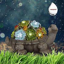 Outdoor Goodeco Solar Garden Statue  Turtle Tortoise Figurine Decor with Succulent LED Light Jardin Yard  Figurines & Miniatures