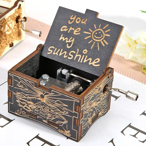 Wooden Hand Cranked Music Box Retro You Are My Sunshine Engraving Pattern Household Decoration Birthday Gifts Party Ornament