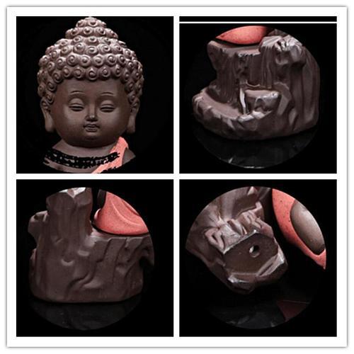20Pcs Incense Cones Burner Creative Home Decor Zen Monk Small Buddha Censer Backflow Incense Burner Use In Home Teahouse Yoga