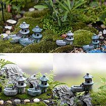 Mini Retro Pond Tower Resin Craft Fairy Garden Decor Figurines Toys DIY Miniatures Terrarium Micro Landscape Home Ornaments