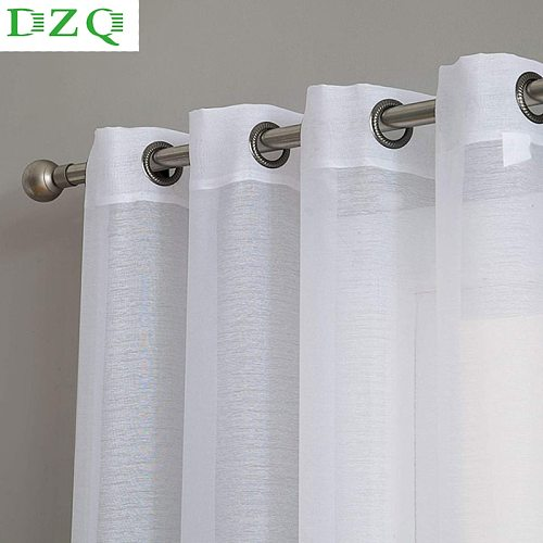 DZQ Solid Color White Sheer Curtain for Living Room Bedroom Kitchen Door Window Treatment Modern Household  Voile Tulle Curtain