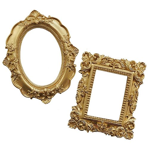 1Pc Vintage Golden Photo Frame Home Decor Desktop Jewelry Picture Display Ornaments Photo Props