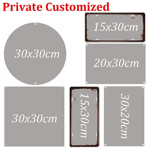 Retro Metal Tinplate Customize Metal Poster Plate Vintage Tin Sign Round Square Rectangle Plaque Wall Decor 15/20/30cm
