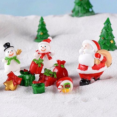 1Pc Christmas Miniature Santa Claus Sled Reindeer Gift Train Terrarium Figurines Fairy Garden Decor Snow Landscape Model