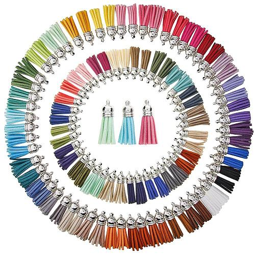 100/60 Pieces 50/30 Colors 40 mm Leather Tassel Pendants Faux Suede Tassel with Caps for Key Chain Straps DIY Accessories