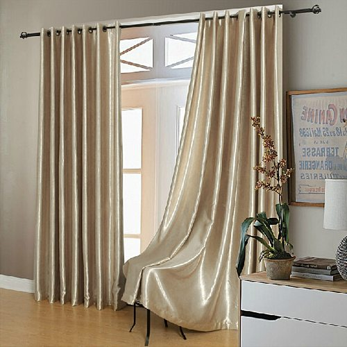 Modern Gold Curtains Solid-colored Windows High Shade Cloth Curtain  Living Room Bedroom Balcony Curtains