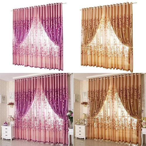 1/2 pcs 1x2.5m European Peony Pattern Voile Curtains Tulle Sheer Valances Home Decor Purple/Pink/Coffee Curtains hot