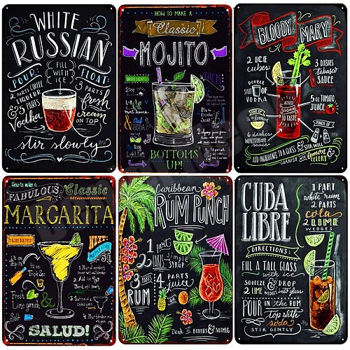 Tiki Bar OPEN Summer BEER Retro Metal Tin Signs Mojito Martini CUBA LIBRE Cocktail Plaque Pub Bar Art Stickers Wall Decor N082