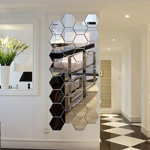 12Pcs 3D Hexagon Acrylic Mirror Wall Stickers DIY Art Home Decor Living Room Decorative Tile espejos decorativos de pared