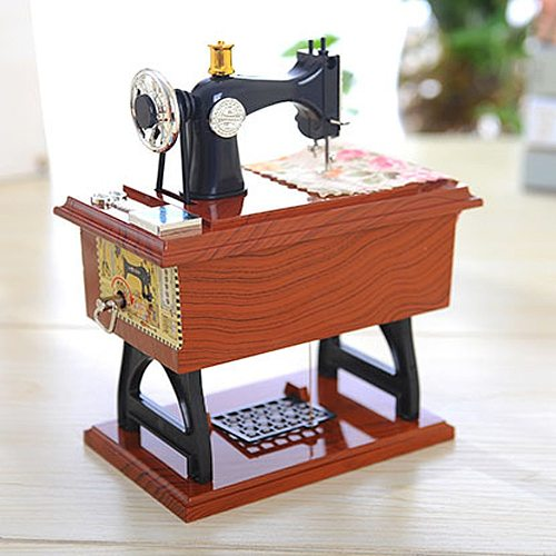 Vintage Music Box Mini Sewing Machine Style Mechanical Birthday Gift Table Decor Chinese Vintage Music Box home decoration