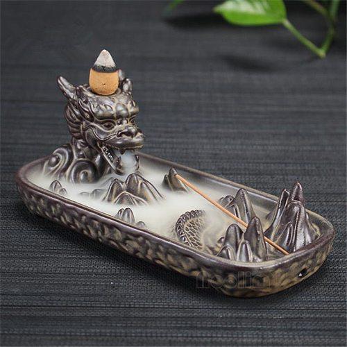 Ceramic Dragon Boat Smoke Backflow Incense Burner Home Office Decor Creative Incense Stick Holder+10pcs Free Incense Cones