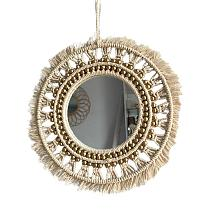 Beige Round Bohemian Mirror Macrame Hand - Made Cotton Rope Hanging Mirror Home Wall Room Decoration