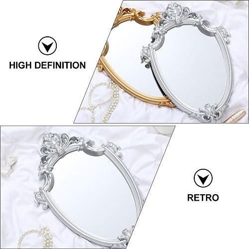 1PC European Style Wall-mounted Mirror Retro Royal Court Style Mirror (Silver)