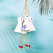 Teru Bozu Ceramic Wind Chime Home Hanging Craft Ornament Car Hanging Garden Fairy Phantom Kids Living Room Decor Lucky Tree Doll