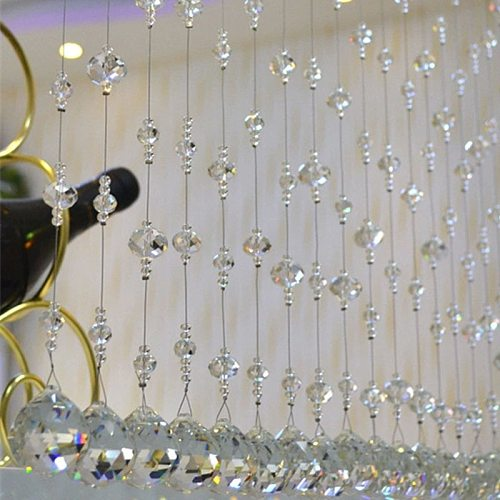 Clear Window Crystal Beads Curtain Decoration Door Partition Pendant Hanging Chain Christmas Wedding Party Decoration Home Decor