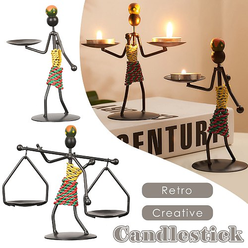 Metal  Creative Retro Candlestick Dining Table Human Modeling Party Home Decor
