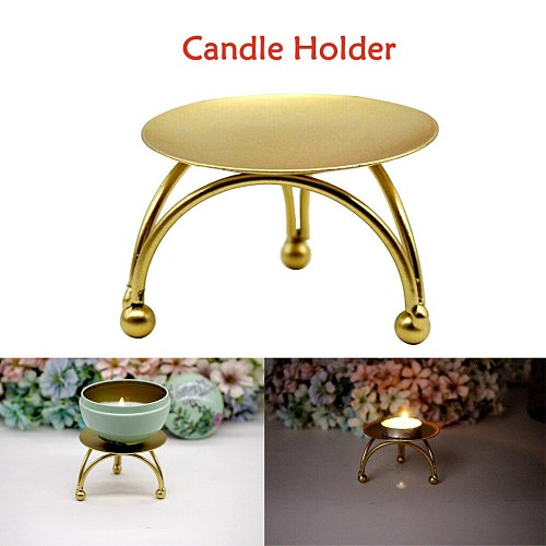 1pc Iron Candle Holder Round Table Golden Candlestick for Party Wedding Ornament Geometric round desktop decoration ornaments#50