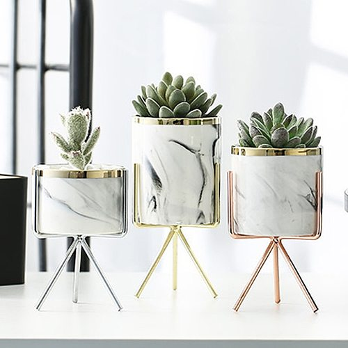 Nordic Ceramic Iron Art Vase Marble Pattern Rose Gold Silver Tabletop Green Plant Pot Home Office Vases Decorative