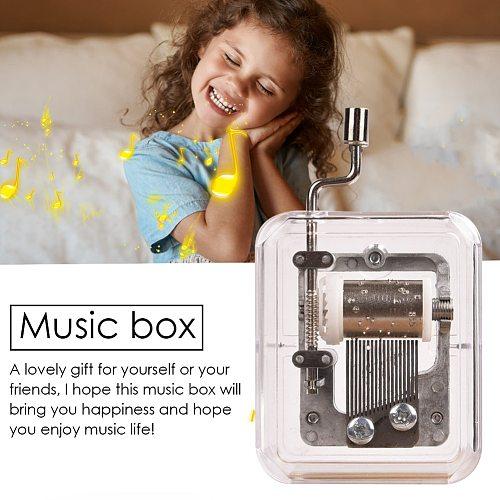 Mini Music Box Hand Cranking Music Movement Transparent DIY Music Box For Christmas Gift Merry Christmas A Variety Of Music