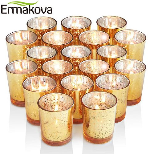 ERMAKOVA 6/12 Pcs Votive Candle Holder Mercury Glass Tealight Candle Holder for Wedding Parties Hotel Cafe Bar Home Decoration