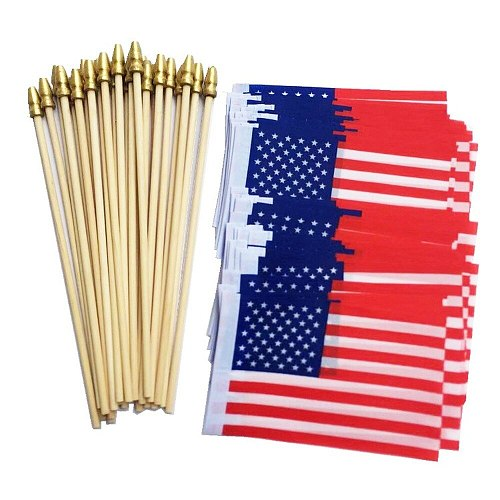 10pcs Independence Day Mini American Flag Hand for Home Decor Accessories Tools with Pole Sleeve Stars Stripes Banner Style