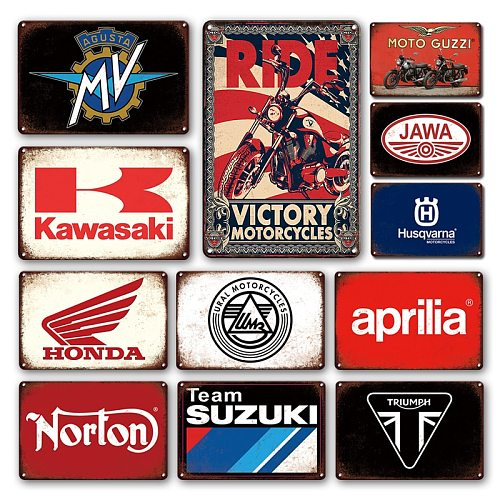 Personalized Motorcycle Garage Decorative Plaque Metal Sign Motor Brand Vintage Tin Sign Man Cave Living Room Collection Decor