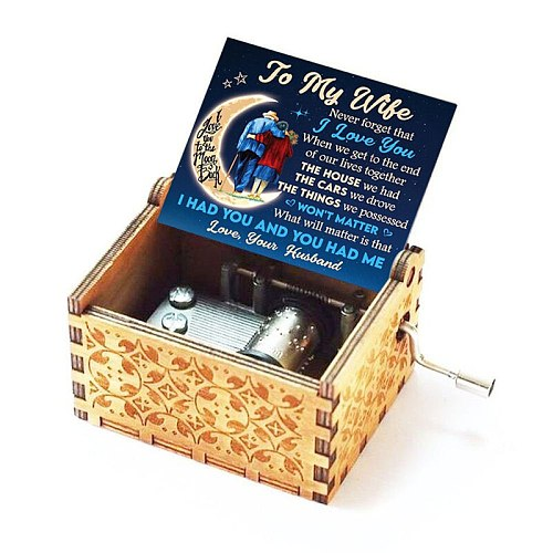 Wooden Engraved Music Box - You are My Sunshine, Christmas Birthday Gift for Wife from Husband