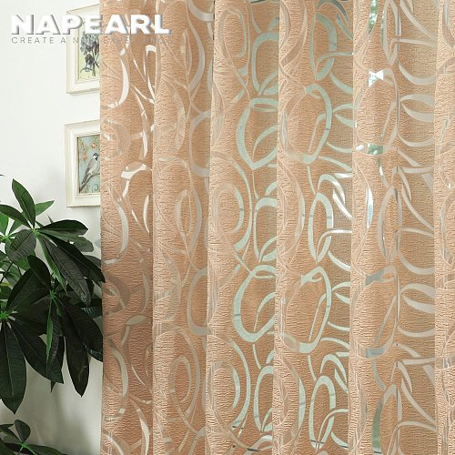 NAPEARL Modern Design Jacquard Window Curtain for Home Drapes Treatments Blind Living Room Custom Made Luxury Semi-sheer Fabrics
