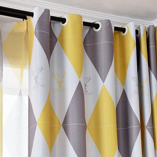 Yellow Geometric Blackout Curtains For Bedroom Kids Boy Nursery Rhombus Pink Grey French Window Treatment Tende JS228C