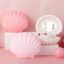 New Colorful Flash Shell Music Box Ornaments Jewelry Box Creative Rotating Dance Girl Model Bedside Decoration Nightlight Gifts