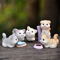 BAIUFOR Miniatures Playing Cat with Fish Terrarium Accessories Fairy Garden Figurines Dollhouse Decor Gift Toys