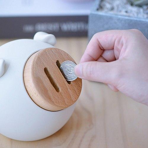 Lovely Pig Model Coin Bank Resin Bank Money Box Cute Money Bank Cash Box Children's Room Piggy Bank Deposit Box Gift Box Pig
