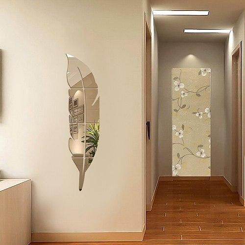 3D DIY Feather Mirror Wall Sticker for Living Room Art Home Decor Removable Sticker Plastic Sticker Mural Wall Sticker Decor