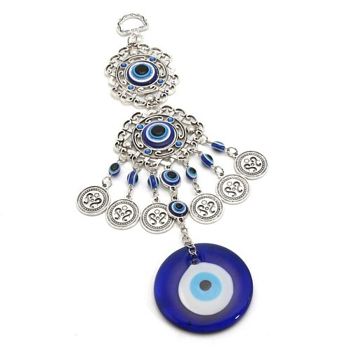 23x4cm Retro Turkish Blue Evil Eyes Amulet Wall Protection Hanging Lucky Pendant Wind Chimes Hanging Garden Home Decorations New