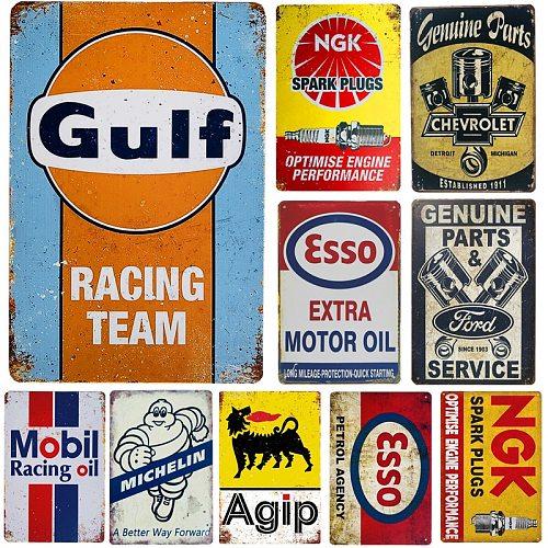 Vintage Metal Tin Signs Gasoline Motor Oil  Garage Service Man Cave Club Decoration Art Poster Plaque