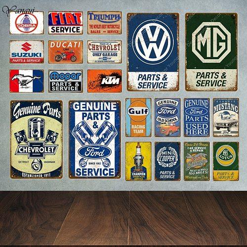 Classic Motor Car Sales Parts Service Vintage Metal Signs Tin Poster Decorative Plates Wall Stickers Pub Bar Garage Decor YA042