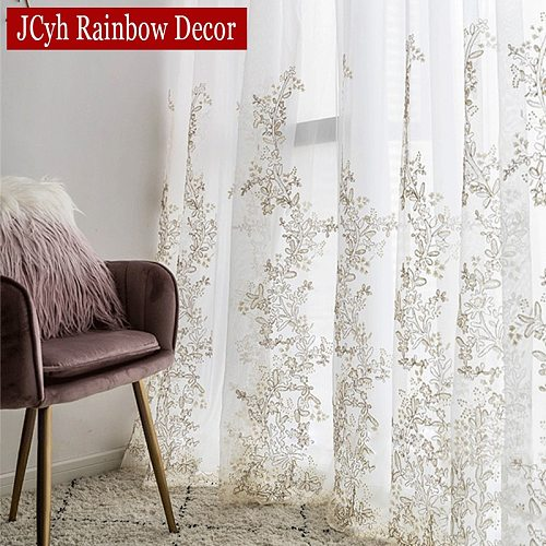 Luxury Princess Tulle Curtains For Bedroom Romantic White Sheer Curtains For Living Room Embroidered 3D Yarn Girls Voile Curtain