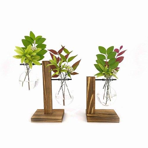 Terrarium Vasevase Decoration Home Bonsai Flower Plant Vases Vintage Flower Pot Transparent Wooden Frame Glass Tabletop Plants