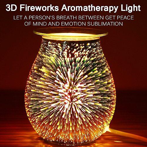 Home Aroma Electric Wax Melt Burner Touch Lamp Night Light Wax Warmer 3D Fireworks Light Wax Melt Warmer For Home Bedroom