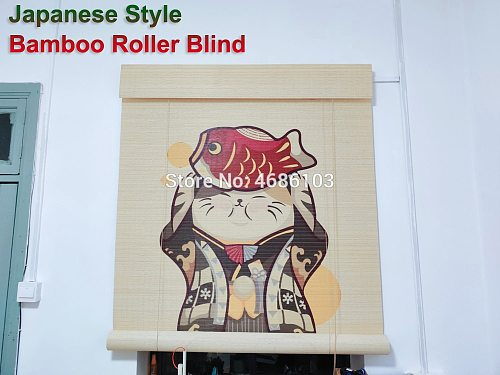 Japanese printed bamboo roller blinds bamboo Door curtain blackout roller blinds printed curtain shutter curtain vintage porch